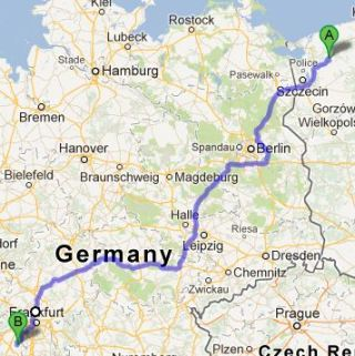 Map - from Mietno to Dolgesheim